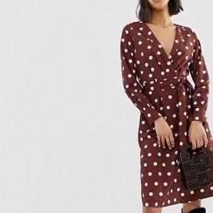 Vero Moda deep v polka dot tie waist midi dress